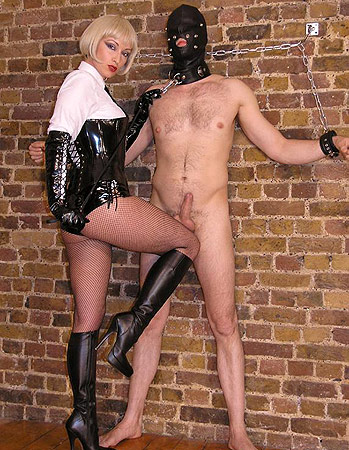 Fishnet cock and ball torture mistress